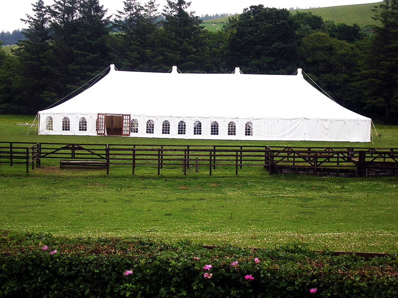 Wedding marquee waiting on the arrival of the guests